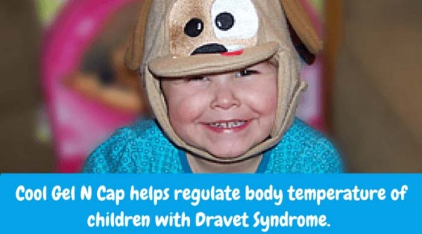 Cool Gel N Cap helps regulate body temperature of children with Dravet Syndrome. It frees up your child's ability to play outdoors during winter or summer. Soon children will know when they don't feel 'right'. If you insert the warm or cold, non-toxic gel packs into the sweet little cap and put it on your child immediately, it is possible to prevent the seizure.
