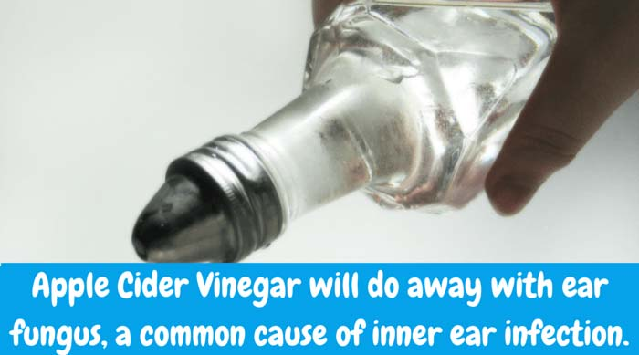 Apple Cider Vinegar will do away with ear fungus, a common cause of inner ear infection. Prepare a simple solution using equal amounts of apple cider vinegar and water. With an ear syringe, squirt the mixture into the child's ear. After a couple of minutes, hold a towel to affected ear and have your little one lean his/her head over to drain the liquid out.
