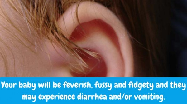 What are Symptoms of Otitis Media? Your baby will be feverish, fussy and fidgety. Their little ear will hurt and they may pull on it. Most likely, they won't have an appetite and may experience diarrhea and/or vomiting.