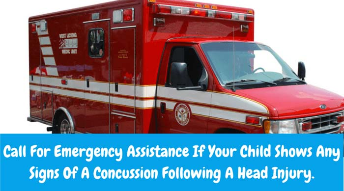 You should call for emergency assistance if your child evidences any of the following symptoms of a concussion following a head injury.