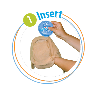 Insert Packs title=Insert the 2 non-toxic gel packs anywhere inside your Ouchie Cap.  They can go over the ears, top of the head, back of the head, front of the head, anywhere!  They stay put!